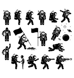 Astronaut or spaceman character set stick figure vector