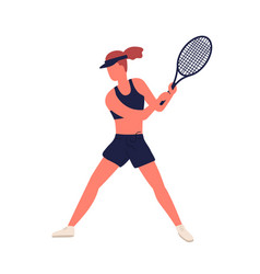 athletic woman in sports apparel demonstrate vector image
