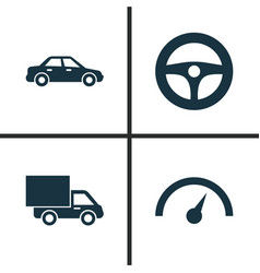 Auto icons set collection of chronometer lorry vector