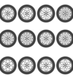 automotive wheel with alloy wheels vector image