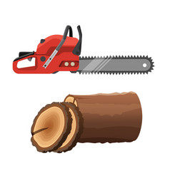 Axeman saw and stump isolated on white background vector
