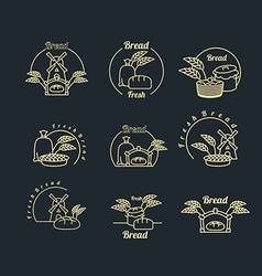 Bakery logo set Pastry logo Bread and baguette vector