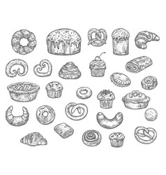 bakery shop bread and dessert cakes sketch vector image