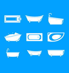 bathtub interior icons set simple style vector image
