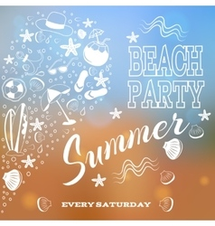 Beach party White letters and symbols vector