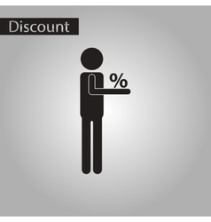 Black and white style icon human discounts percent vector