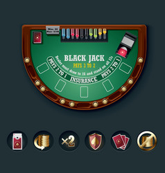 Blackjack table layout vector