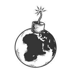 bomb planet earth sketch engraving vector image