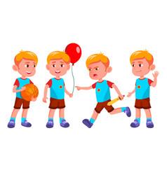 boy kindergarten kid poses set little vector image