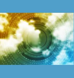 bright technology hud design on sky background vector image