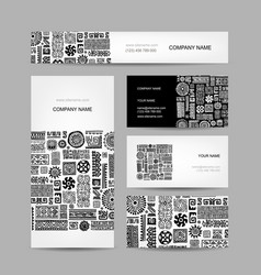 business cards collection ethnic ornament for vector image