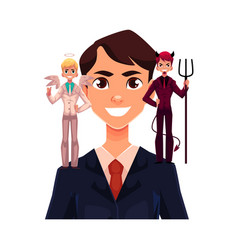 Business man with angel and devils decision vector