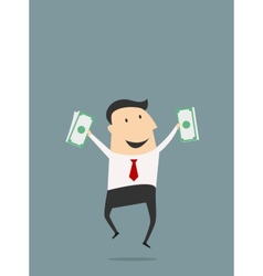 Businessman jumping with dollars vector image