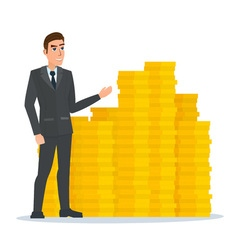 businessman stands proudly near the pile of gold vector image