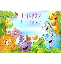 Cartoon animals birthday greeting card vector