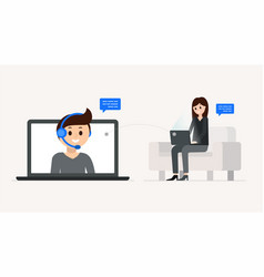 cartoon boy and girl having dialogue online vector image