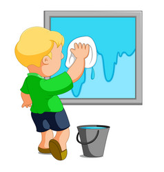 Child cleaning window vector