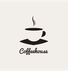 coffee cup logo on white and black background vector image
