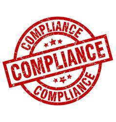 Compliance round red grunge stamp vector