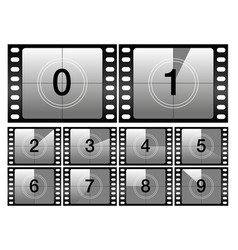 Countdown frames classic old film movie timer vector