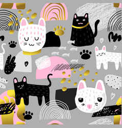 Cute cats seamless pattern childish background vector