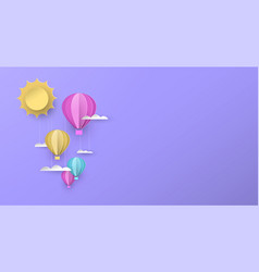 Cute papercut hot air balloon background for kids vector