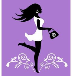 elegant female silhouette and ornate pattern with vector image