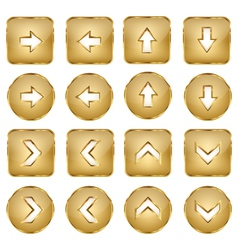 Elegant Golden Web Buttons Arrows vector image