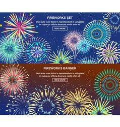 Exploding Of Fireworks Horizontal Banners vector