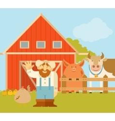 Farmer and his farm vector image