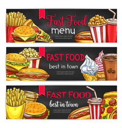 fast food lunch meal with drinks chalkboard banner vector image