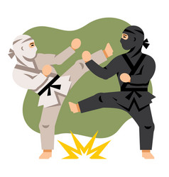 Fight black and white ninja flat style vector