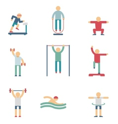 Fitness people color icons vector image vector image
