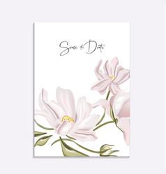 floral tender soft magnolia wedding invitation vector image