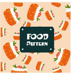 food pattern shrimp sushi background image vector image