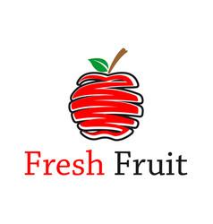 Fresh apple fruit icon logo design red apple vector