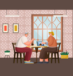 friends man and woman in restaurant together vector image