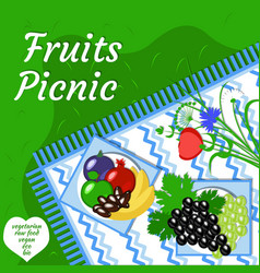 Fruity summer picnic party in the open air vector