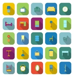 Furniture color icons with long shadow vector