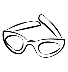 glasses drawing on white background vector image