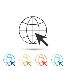 go to web icon globe and cursor website pictogram vector image