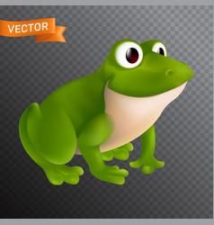 green cartoon frog character with big eyes vector image