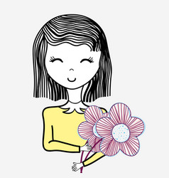 happy woman with flowers icon vector image