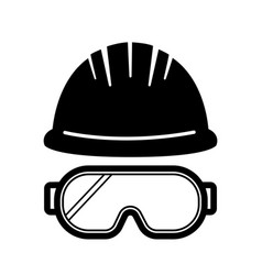 Helmet glasses safety construction sign vector