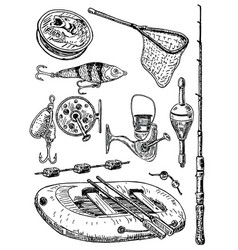 Ink hand drawn fishing equipment set vector
