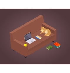Isometric freelancer workplace vector