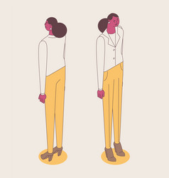 isometric full color outline standing woman vector image