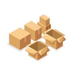 Isometry a set of cardboard boxes of various shape vector