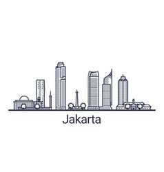 jakarta skyline banner linear style line art vector image