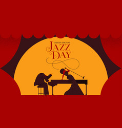 jazz day card of woman singer and piano player vector image